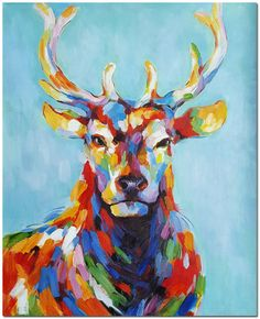 Venado Buck óleo sobre lienzo - firmado impresionista arte Animal colorido certificado incluido pintado a mano por FolkcultureGallery