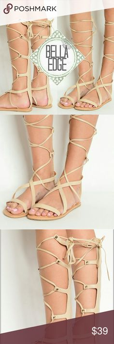 🆕 ATHENA Bone strappy stud gladiator sandals These sandals are going to be your summer staple! Features thick instep straps and thin straps that wrap around your calves and ties at top for that Greek goddess look, zip up back, and gold hardware studs on each T-steap. Cushion sole, fits true to size.  Also available in whiskey Size 5-10 Bella Edge  Shoes Sandals