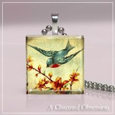 Smell the Roses glass tile pendant