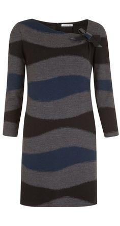 Robe trapèze en jersey de laine à vagues