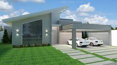 Casa C007: Projeto de casa com 3 quartos, sendo 1 suíte, 2 banheiros e 2 vagas na garagem. Fachada contemporânea, com telhado visível e estilo diferente.