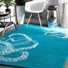 nuLOOM Handmade Octopus Tail Faux Silk / Wool Rug (Turquoise- (5'x8')), Blue, Size 5' x 8' (Natural Fiber, Abstract)