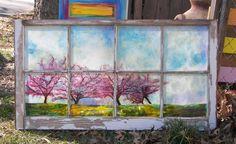 Cherry Trees Window painting  Antique pane window by greenchicliz, $250.00