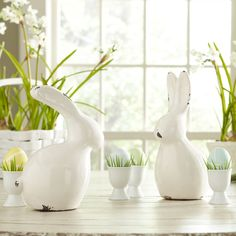 """Birch Lane Kissing Bunnies Décor - Weights & Dimensions • 8.5"""" H x 4.25"""" W x 6.5"""" D • 10"""" H x 4.5"""" W x 5.75"""" D •Overall Product Weight: 1.4lbs"""