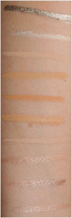 "Nude/Champagne Eyeliner Comparisons.  WANT the top one - BareMinerals ""5am"" gorgeous pewter!"