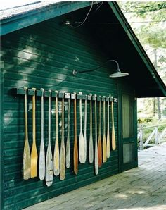 A collection of oars. Fun for the exterior of a cabin or boat house. Haus Am See, Boho Home, Lake Cabins, Lake Cottage, Cottage Homes, Seen, River House, House By The Lake, Cabins In The Woods