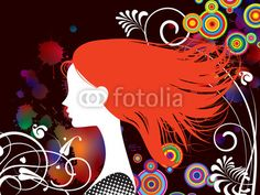 Vector: Girl with red hair