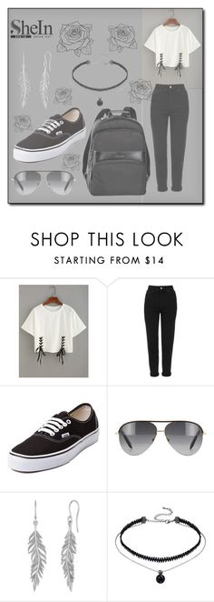"""""""Black & White SheIn"""" by hirw ❤ liked on Polyvore featuring Topshop, Vans, Longchamp and Victoria Beckham"""