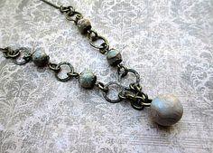 Impression Blue Bead Necklace Artisan Beaded by LittleBitsOFaith, $27.00