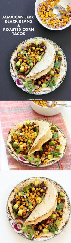 Jamaican Jerk Black Bean Tacos with Roasted Corn Salsa. 25 minute Tacos, full of flavor. Vegan Soy-free Recipe. Can be gluten-free with gf tortillas or soft tacos.   VeganRicha.com