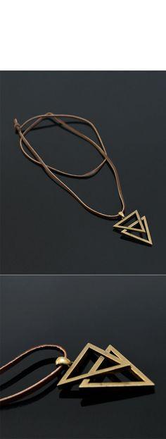 Vintage Double Metal Triangle-Necklace 190 - GUYLOOK