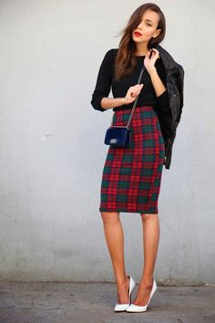 Plaid Midi Skirt - Dress Ala