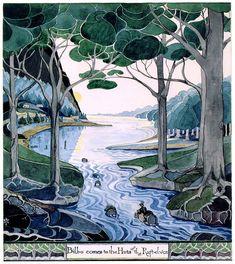 "Tolkien's original illustration for the chapter ""Barrels Out of Bonds"" in ""The Hobbit."""