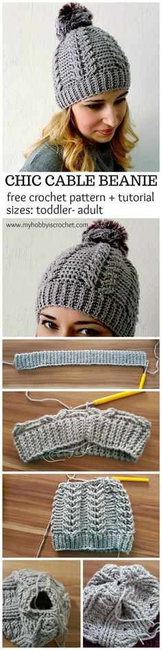 Chic Cable Beanie - Free Crochet Pattern + Tutorial; sizes: Toddler - Adult on www.myhobbyiscrochet.com