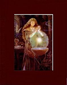 BEAUTIFUL WICCAN MATTED SCRYING ART * MORGAN LE FEY
