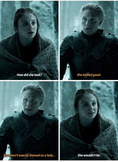Game of thrones season 7 funny humour meme Sansa Stark, Brienne of Tarth, Arya Stark, Sophie Turner Brienne Von Tarth, Lady Brienne, Got Game Of Thrones, Game Of Thrones Funny, Game Of Thrones Brienne, Game Of Thrones Dress, Eddard Stark, Sansa Stark, Winter Is Here
