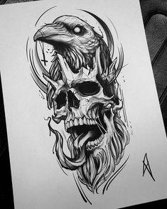 Longsleeve sketch Zeus/Hades tattoo designs ideas männer männer ideen old school quotes sketches Tribal Art Tattoos, Kunst Tattoos, Skull Tattoos, Body Art Tattoos, Sleeve Tattoos, Evil Skull Tattoo, Animal Tattoos, Tattoo Ink, Tattoo Sketches