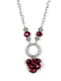 Burgandy Potato Pearl and Chain Necklace by APerfectGem on Etsy, $16.00