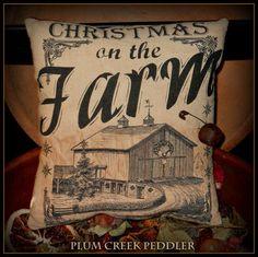 Christmas On The Farm Primitive Farmhouse Pillow Tuck | PlumCreekPeddler