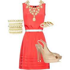 """Coral, white and nude"" by lizzygirl07 on Polyvore"