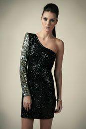 Boutique Zoe Padded Shoulder Sequin Dress