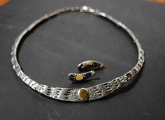 RESERVED - Darveau Necklace Earrings - Canadian Modernist Brutalist - 1960 1970s - Bib Necklace Post Earrings