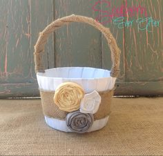 Rustic Burlap Flower Girl Basket / YOU PICK by SouthernEverAfter, $33.99