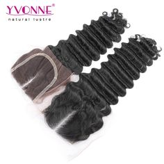 61.72$  Buy now - http://alipz7.worldwells.pw/go.php?t=32338455019 - Brazilian Deep Wave Middle Part Lace Closure,Top Quality Human Hair Closure 4x4,Aliexpress YVONNE Hair Products,Color 1B 61.72$