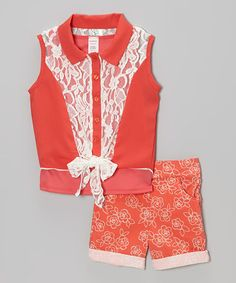 Another great find on #zulily! Coral Lace Sleeveless Button-Up & Floral Shorts - Girls #zulilyfinds