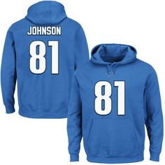 Calvin Johnson Detroit Lions Majestic Eligible Receiver II Name & Number Hoodie - Blue