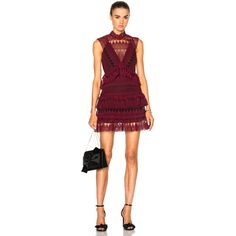 self-portrait Teardrop Guipere Paneled Mini Dress (£438) ❤ liked on Polyvore featuring dresses, lace keyhole dress, red cocktail dress, short lace dress, red lace dress and keyhole dress
