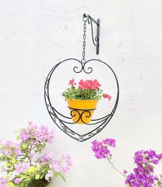 Hanging Heart Planter (Lace patterned) with Metal Pot