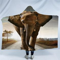 Saharan Elephant Hooded Blanket - 3d / Kids - 127cm x 152cm