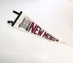 New Mexico Souvenir Pennant, Large Vintage Felt Flag in White, Black and Red by planetalissa on Etsy