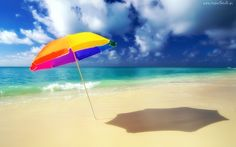 Morze, Plaża, Parasolka