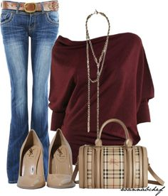 A fashion look from January 2013 featuring red top, blue jeans and nude shoes. Browse and shop related looks. Diva Fashion, Fashion Beauty, Womens Fashion, Fashion Trends, Chic Outfits, Fashion Outfits, Fall Outfits, Passion For Fashion, Autumn Winter Fashion