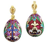 Russian Silver Gold Tone Egg Pendant Flor De Lis 1 Inch -- You can find more details by visiting the image link. (This is an affiliate link and I receive a commission for the sales) Religious Gifts, Religious Jewelry, Monastery Icons, Faberge Jewelry, Christ Is Risen, Faberge Eggs, Russian Art, Silver Enamel, Cross Pendant