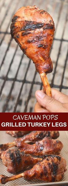Grilled Turkey Legs are a fun take on Thanksgiving dinner! These cavemen pops are moist and flavorful with a simple brine and so easy to cook on the grill!