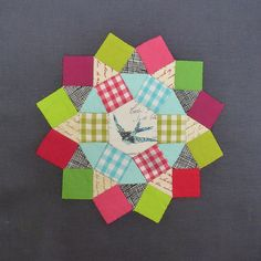 Gingham EPP blocks Squares, Triangles and a hexie!