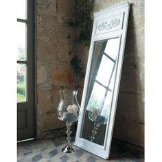 CÉLESTINE wooden trumeau mirror in white H 170cm