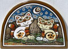 pottery plaques   Handmade Ceramic Plaque (cat date – blue sky) - Purrfect Ceramics ...