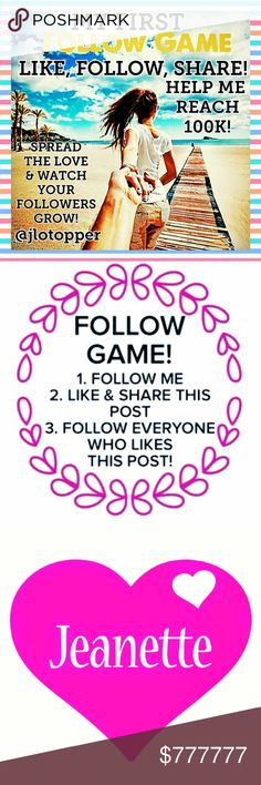 1ST FOLLOW GAME! PLEASE LIKE, FOLLOW, & SHARE SPREAD THE LOVE & WATCH YOUR FOLLOWERS GROW! THANK YOU FOR SHARING THANK YOU FOR LIKING THANK YOU FOR FOLLOWING LETS GROW TOGETHER! Other