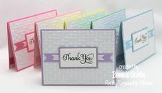 Make Time 2 Craft: RRR Spring Colors & Ribbon Challenge - cute and simple set of thank you cards