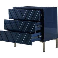 Collette (Navy Blue) price for Night Stand, Rich Chrome Stainless Steel Base, Contemporary Chevron Design. Each inner drawer measurement: 20 x 12 x Stand x x 3 Drawer Nightstand, Dresser, Meridian Furniture, Home Upgrades, Loveseat Sofa, Drawer Fronts, Contemporary Style, Storage Spaces, Drawers