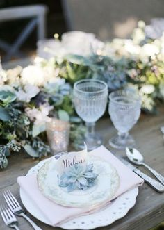 Pretty place setting by Lagniappe Weddings. Dinnerware from Posh Couture Rentals and Gold Dust Vintage Rentals. Floral from Di Fiori. Paper by Southern Fried Paper. Photo by Feather & Twine Photography. #wedding #placesetting #succulent #vintage