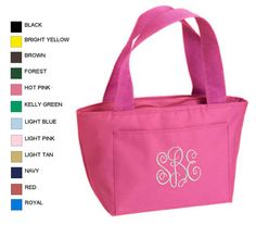 Personalized Embroidered Monograms Cooler Lunch by ArtsAndSoles