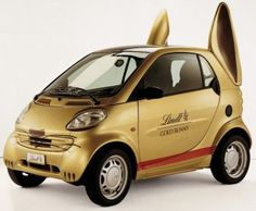 Lindt Gold Bunny smart car... started in 2007 to travel around as part of an Easter promotion.