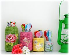 @ Coco Rose Diaries: Cheerful crochet and cross-stitch jar covers