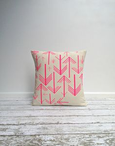 Cushion Cover Pillow Cover Throw Pillow  Neon Pink by agnesandyou, $45.00