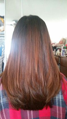 New haircut. Layered hair. Medium length. Straight ends. Low layers. Dyed.